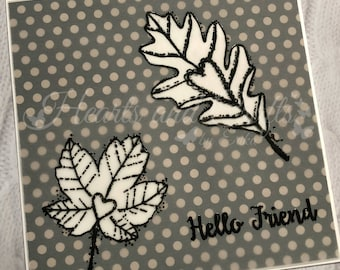 Handcrafted Greeting Card - Heart/Leaves (PAT-0043)