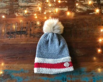 The Sock Monkey inspired Beanie with Faux fur Pompom / Double Brim the Monkey Sock inpired winter Beanie with Fur pompom