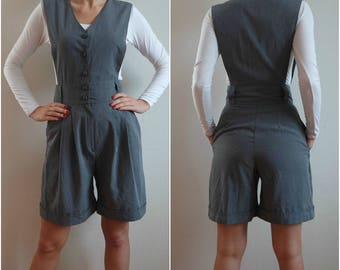Vintage Women's Gray Shorts Jumpsuits,  Shorts Jumpsuits , Gray Overalls, Size S