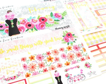 Gold Foil Stickers! February Monthly Sticker Kit for Erin Condren Happy Planner//February Monthly Spread//A02,H02
