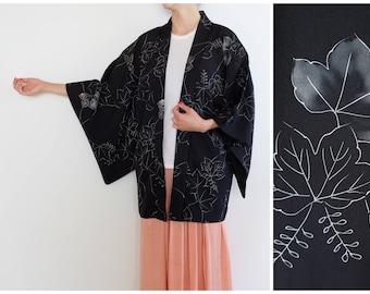 Dark Navy Blue Floral Kimono -