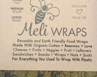 Reusable beeswax food wrap in Ola print Olive (3 pack)