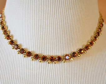 Vintage Delicate Rhinestone Mid Century Choker Necklace Burnt Orange Fall Autumn Costume Jewelry 16""