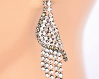 "Vintage Rhinestone Fringe Statement Dangle Stud Earrings Boho Retro Costume Jewelry 2.25"""