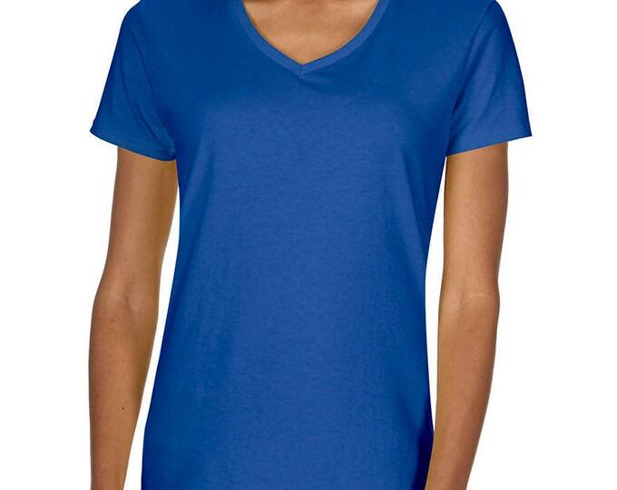 Women's Royal Blue Blank T-Shirt with Fringe Options