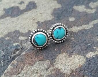 Turquoise Studs, Sterling Silver, Stud Earrings, Post Earrings, Beaded Studs, Boho Jewelry, Summer Earrings, Silver Earrings