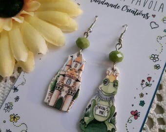 The frog king Earrings,  PRINCIPE RANOCCHIO orecchini, Bijoux da Favola, Fairy Jewellery