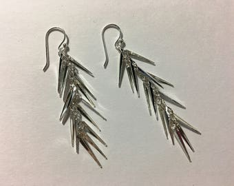 Sterling Silver Cascade Dangly Earrings