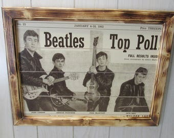 """The Beatles Top Poll 1964 Custom Hand Crafted Rustic Look Picture 24""""x18"""""""