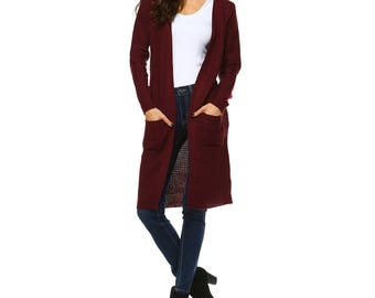Fashionazzle Women's Open Front Knit Long Sweater Cardigan with Pocket