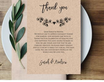 Rustic Wedding Thank You Printable, Reception Thank You Note, In Lieu of Favor Card, 100% Editable Template, Instant Download #018-104TYN