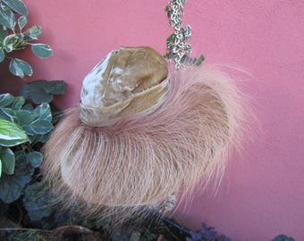Honey-coloured velvet vintage hat with feathers