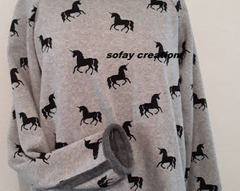 grey Unicorn Sweatshirt