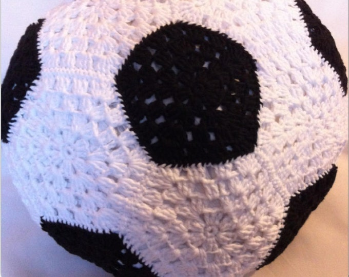 Cotton black and white soccer ball pillow