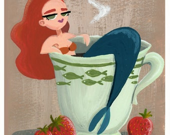 Mermaid in a cup Print