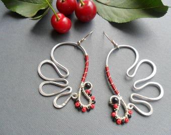 Wings earrings, Aluminum wire earrings, Silver wire earrings, Wire wrapped earrings, Womens earrings, Gift for girlfriend, Angel wings