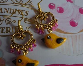 Gold plated connector heart earrings baroque gold yellow kawaii bird clay polymer Fuchsia seed beads