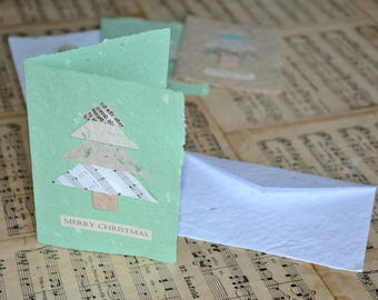 Christmas double card (1 piece) and envelope made of artisanal recycled paper - Various colors available - Unique item - Handmade in Iceland