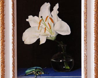 Lily flower with insect, Lily flower original oil painting, flowers original oil painting, insect painting