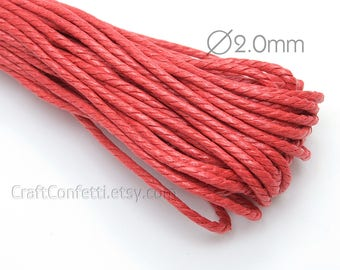 Red twisted cotton cord 2mm Red waxed cotton cord Vegan bracelet cord Red cord Cotton cord for jewelry / 5 meters
