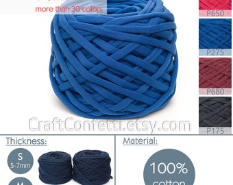 Royal blue T-Shirt yarn / M yarn / Electric blue tee shirt yarn Spaghetti yarn Chunky fabric yarn Jewelry yarn Home decor yarn / P275 / 5m