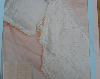 Vintage knitting pattern by Patons for a cushion cover and pram cover for baby, knitted in Double Knit yarn