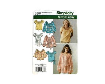 2000 Sewing Pattern - Simplicity 3887 - Boho Pullover Top