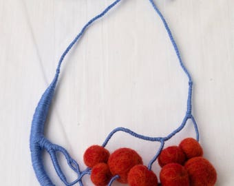Wool Necklace Blue Orange Cherry Acrylic Yarn Hand-Made Custom-Fit Gift for Her Ukrainian Artist Boho Textile necklace Statement necklace