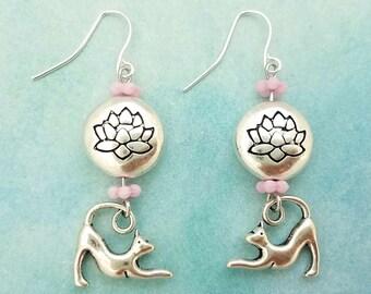 Yoga Kitty Earrings, Lotus Flower earrings, Yoga cat earrings, Yoga jewelry, Yogi jewelry gift, enlightened, kitties