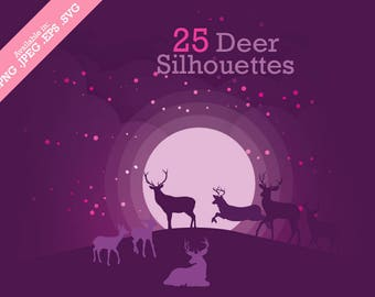 Clip Art Digital Deer Silhouette Pack - Set with 25 png, jpeg, svg and eps files for tags, collage, scrapbook, clip art and more SALE