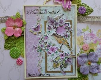 Birds on branch pink yellow green flower birthday card