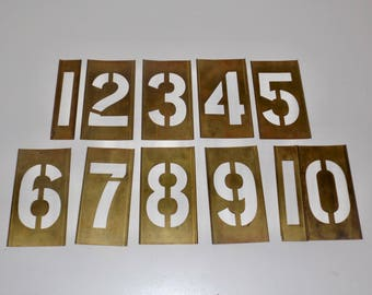 "Large brass stencils,numbers,1-10,complete set,10 pieces,4"" letters,stenciling,inter locking,adjustable,lockedge"