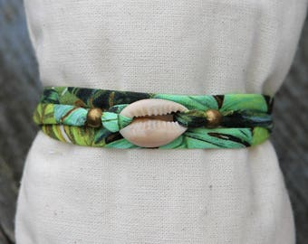 cowrie shell and fabric cord bracelets three towers _ jungle exotic Bohemian Beach nature