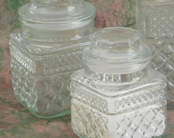 Vintage Glass Canisters, Wexford Pattern, Anchor Hocking, Apothecary Lidded Jar, Square Food Storage Containers, Bathroom Vanity Set