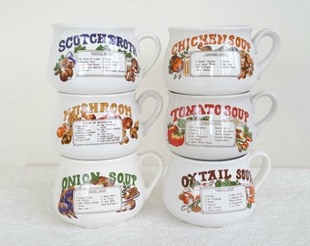 Retro Mugs Soup Recipe, Vintage Soup Mugs, Soup Mug Set, Retro Soup Bowls, Kitsch, 1970's Kitchenalia, 6 Bowl Set, Retirement Gift