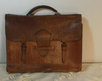 Sac école. Porte documents cuir. . Malette. Leather bag. No copy. Vintage. France