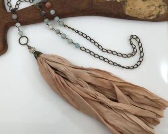 Sari Silk Tassel Necklace/Blush Beige Tassel/Amazonite Bead Chain/Boho Necklace/Bohemian Jewelry/Long Tassel Necklace/Romantic Necklace