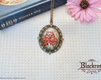 Antique Bronze Necklace-hand painted watercolor-red flowers