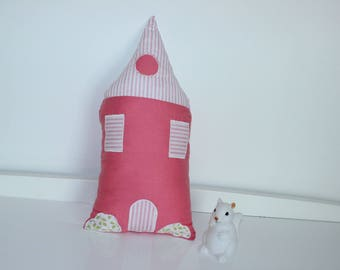 Pink and green house shaped cushion