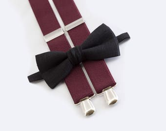 black bow tie & burgundy suspenders ring bearer outfit  bow tie suspenders for boys
