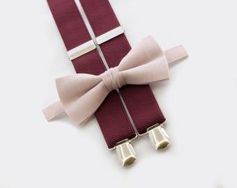 10% OFF Ring Bearer Outfit Burgundy Suspenders & Blush Pink Bow Tie Groomsmen Bow Tie Suspenders