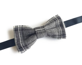 "Plaid Grey Pre Tied Bow Tie ""Ramsay"", Best Handmade Gift for Men, Weddings, Birthday, Valentines Day"