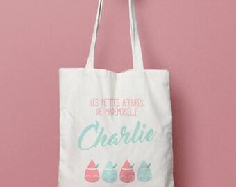 Tote cotton bag custom drops - child cotton bag - diaper bag personalized