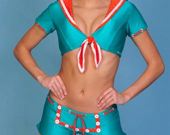 Jade-Orange-White Sailor 2-C Dance/Cheer Costume- 1-of-a-kind----Size M