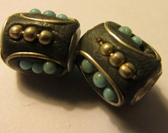 Handcrafted Kashmiri Barrel Bead with Metal Studs and Mini Blue Beads, 12mm, Set of 2