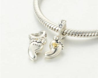 925 Sterling Silver Baby Foot Lucky Gold Charm ~ Threaded Slide-on Bead ~ Fits Pandora Chamilia Biagi Trollbeads ~ (Bracelet not incl)
