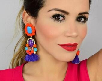 Colorful Pom Pom Earrings, Christmas Gift, Handmade Earrings,Statement Earrings,Tassel Earrings,Bridal Earrings, Dangle Pom Pom Earrings,
