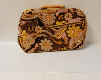 Groovy Vintage 1960s - 1970s Holiday Fair Flower Design Small Travel Suitcase