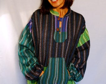 Loose boho top Oversize long shirt smart hippie shirt soft cotton green striped purple 90 slouchy pullover shirt festival look vintage