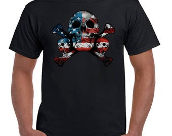 USA Flag Skulls 2481
